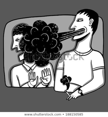Cartoon agacé fumeur design art rétro Photo stock © lineartestpilot