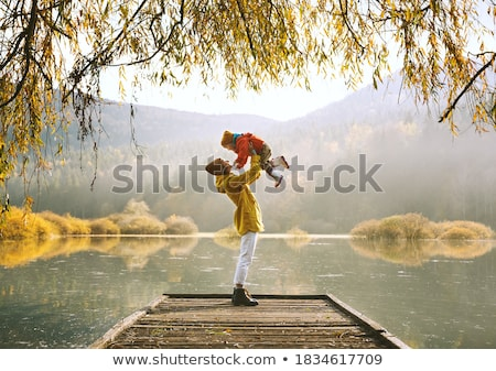 wooden bridge in nature with willows Stock photo © compuinfoto