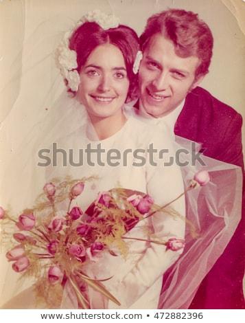 ストックフォト: ヴィンテージ · 写真 · 新婚 · 小さな · ポーズ