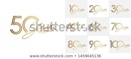 évforduló meghívó illusztráció feketefehér 3D arany Stock fotó © Irisangel