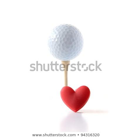 Golf golyók piros szív fából készült kék Stock fotó © CaptureLight