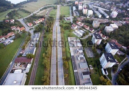 Légifelvétel házak öreg autópálya Csehország üzlet Stock fotó © slunicko