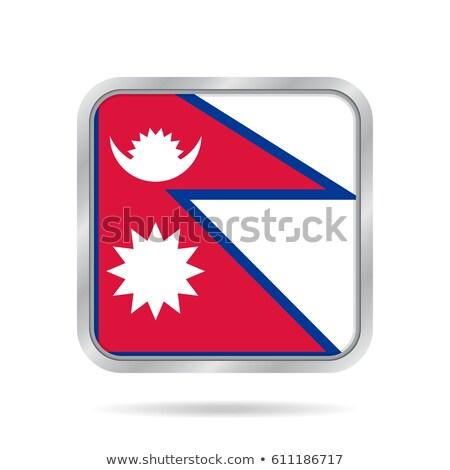 Square metal button with flag of nepal Stock photo © MikhailMishchenko