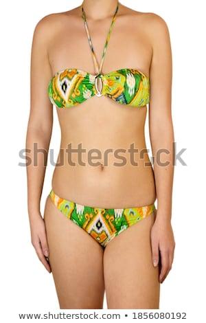 vonzó · fiatal · nő · kék · bikini · zöld · kint - stock fotó © BrazilPhoto