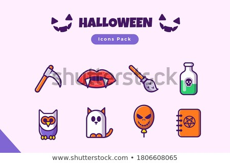 Vampire mouth, vampire teeth vector flat design icons set  Stock photo © RedKoala