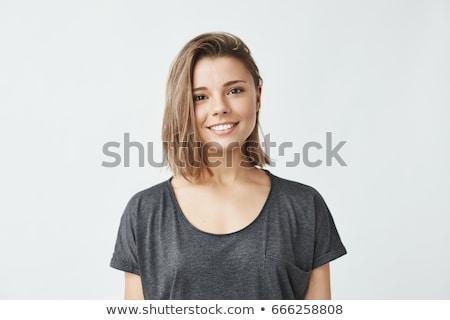 portré · mosolyog · fiatal · szőke · nő · szexi · rózsaszín - stock fotó © acidgrey