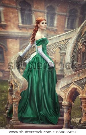 aristocratique · dame · escaliers · vieille · maison · fille · sexy - photo stock © PetrMalyshev
