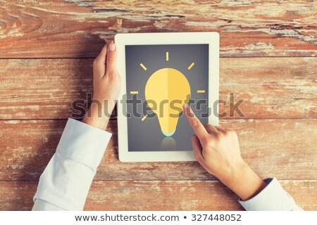 деловая женщина указывая пальца экране изолированный Сток-фото © deandrobot