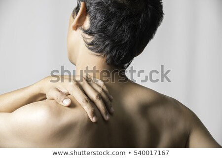 Foto stock: Muscular · homem · dor · no · ombro · cinza · corpo · saúde