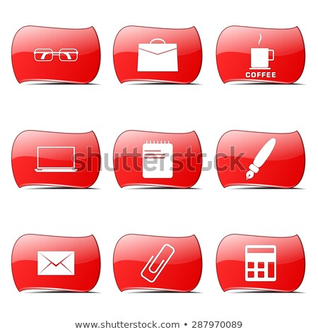 Irodai munka piros vektor terv szett internet Stock fotó © rizwanali3d
