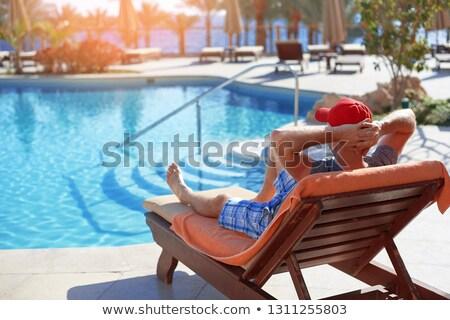 Zonnebaden zwembad Egypte vrouw bril Stockfoto © master1305