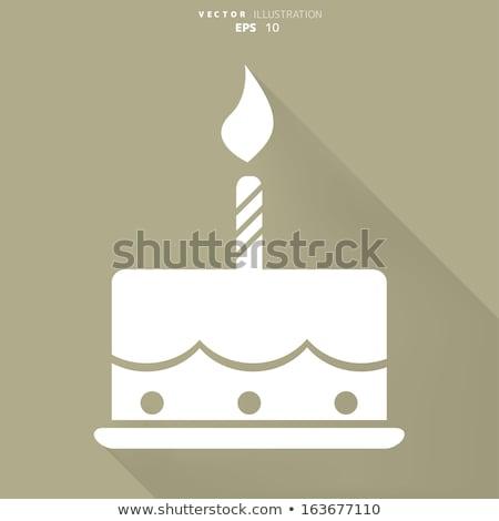 Felirat születésnapi torta sütemény kávé születésnap torta Stock fotó © Ustofre9