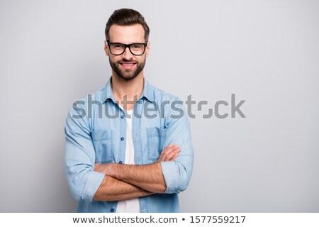 yakışıklı · genç · gözlük · gülümseme · moda - stok fotoğraf © feedough