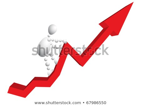 man climbs a mountain as red arrow diagram stock photo © boroda