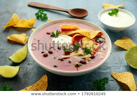 mexikói · leves · közelkép · fekete · bableves · kukorica - stock fotó © rojoimages