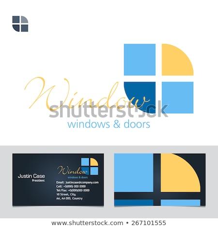 Foto stock: Logotipo · porta · fabrico · logotipo · da · empresa · negócio · vidro