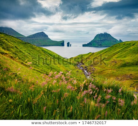 paisagem · típico · grama · verde · rochas · água - foto stock © arrxxx
