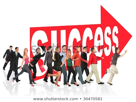 business themed collage people run to success following the arrow sign stock photo © paha_l