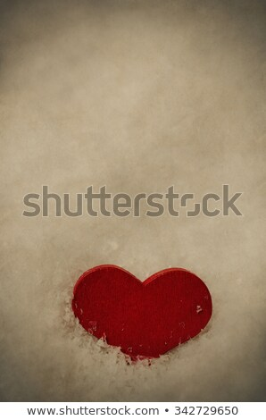 red wooden heart upright in snow   vintage stock photo © frannyanne
