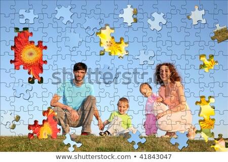 familia · cuatro · rompecabezas · collage · hierba · hombre - foto stock © Paha_L