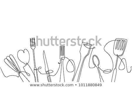 cubiertos · silueta · iconos · patrón - foto stock © smuki