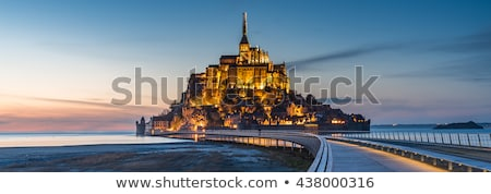 low tide at the abbey of mont saint michel france stock photo © capturelight