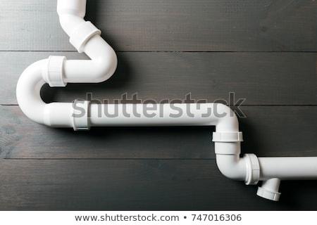 Plastic sanitair pijp werknemer hand water Stockfoto © byrdyak