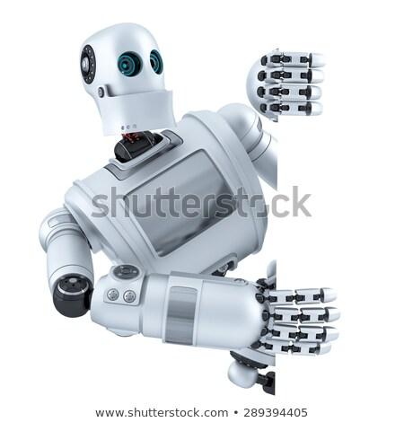 Android robot tart tábla vágási körvonal 3d illusztráció Stock fotó © Kirill_M
