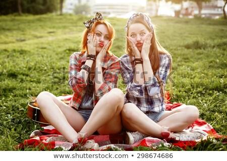 Hipster Girls Dressed in Pin Up Style Having Fun  Stock photo © dariazu