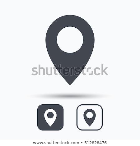 здесь икона знак путешествия тень кнопки Сток-фото © kiddaikiddee