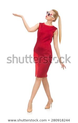 largo · esbelto · piernas · vestido · rojo · mujer · rubia - foto stock © elnur