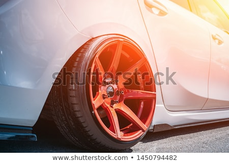 Closeup of Custom Wheels on a Luxury Sports Car Stock photo © pzaxe