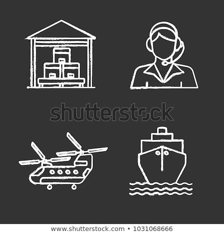 navio · de · cruzeiro · giz · ícone · vetor - foto stock © rastudio