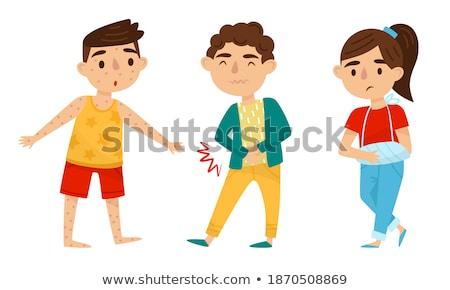 Jongen lijden weinig aanraken buik gezondheid Stockfoto © Kakigori