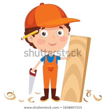Stolarz maskotka cartoon uśmiech drewna szczęśliwy budowy Zdjęcia stock © doddis
