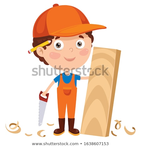 Marangoz karikatür maskot gülümseme ahşap mutlu inşaat Stok fotoğraf © doddis