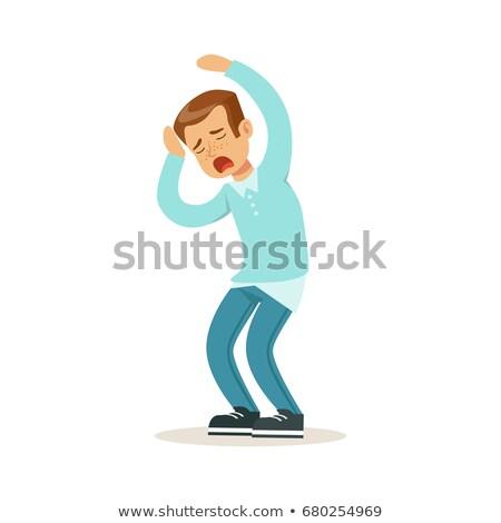 Weinig jongen nerveus illustratie kind achtergrond Stockfoto © bluering