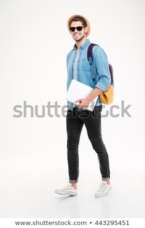 Stockfoto: Aantrekkelijk · jonge · man · witte · shirt · jeans