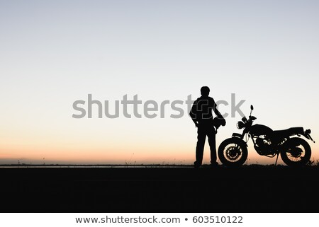 Motorcyclist on the nature background Stock photo © bezikus