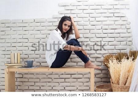 Lány ül vmi mellett asztal illusztráció fehér Stock fotó © bluering