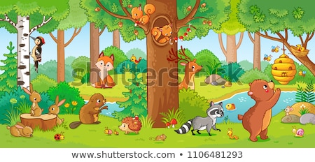 Funny Animal Cartoon With Forest Background Vector Illustration