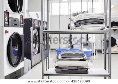 Otomatik çamaşırhane örnek hizmet elbise sepet Stok fotoğraf © adrenalina