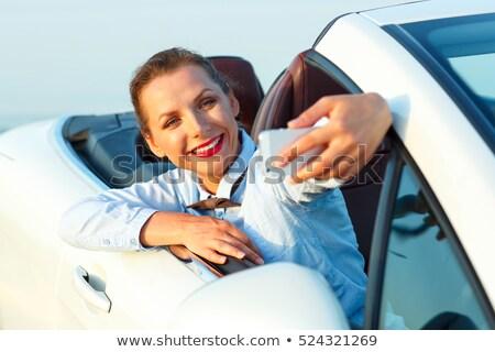 Stockfoto: Vrouw · zelfportret · vergadering · kabriolet · jonge