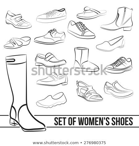 Milieu talon chaussures icône blanc noir beauté Photo stock © angelp