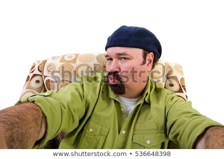 Férfi kecskeszakáll fotel elvesz portré túlsúlyos Stock fotó © ozgur