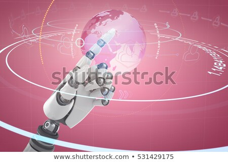 Stock photo: Composite image of shiny black hand of robot