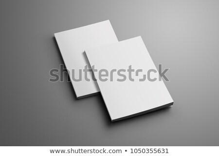 Stock fotó: Brosúra · árnyékok · üres · papír · izolált · fehér · felfelé
