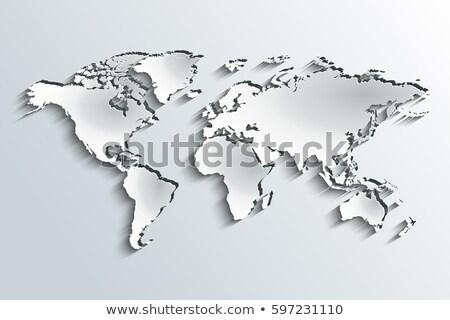 Wereldkaart papier grijs helling kaart abstract Stockfoto © tilo