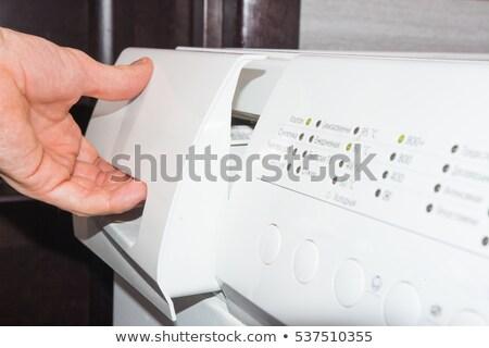 Mosószer kéz férfi nő mosógép gép Stock fotó © ssuaphoto