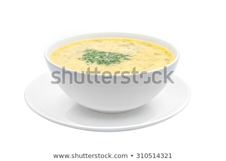 Greek chicken soup in a bowl isolated on white Greek chicken soup with herbs Stock photo © FOTOART-MD
